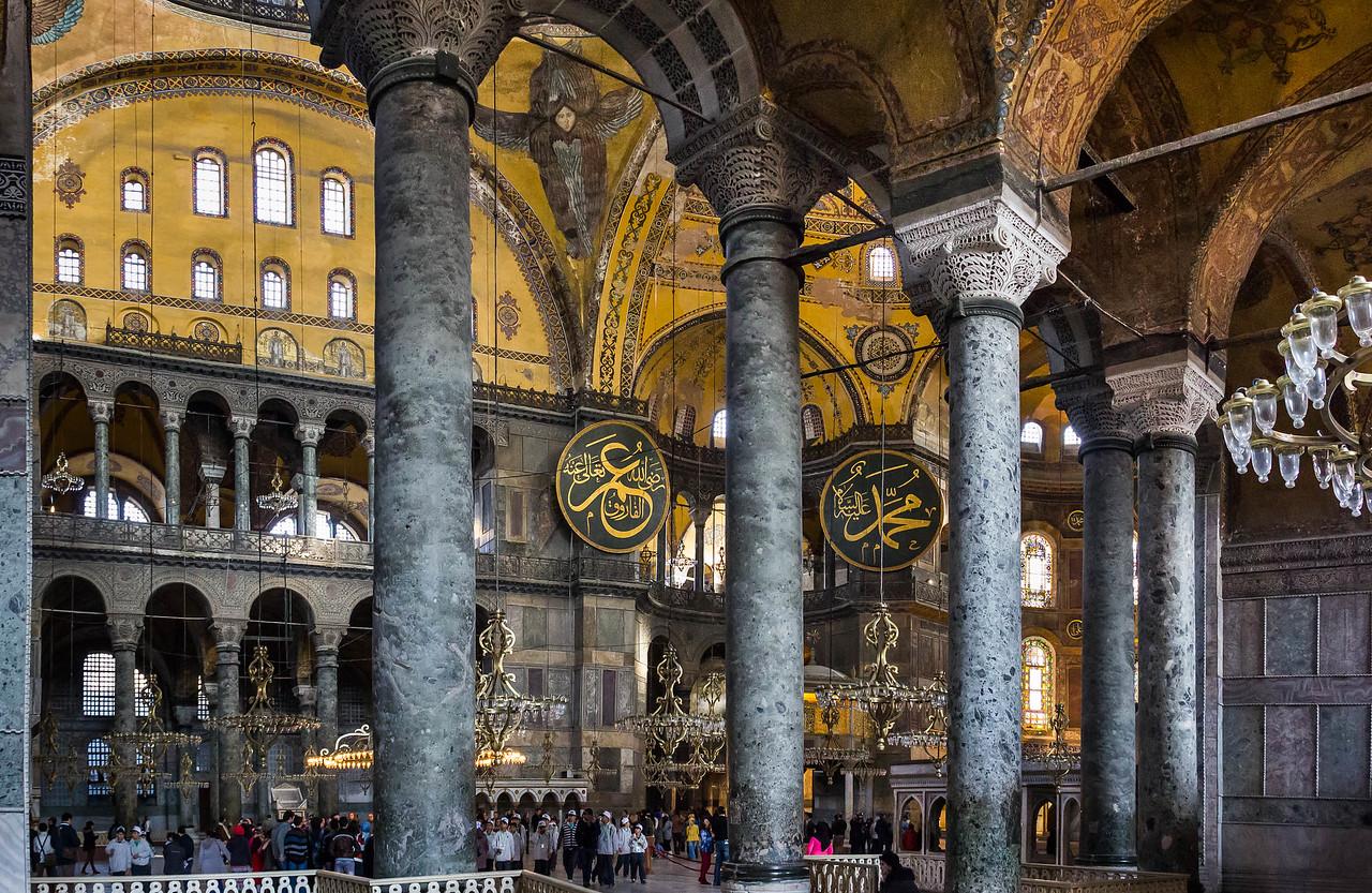 Istanbul, Hagia Sophia: Blick aus südl. Seitenraum Richtung Nordost