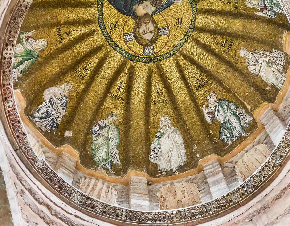 Istanbul, Pammakaristos: Kuppelmosaik mit Christus Pantokrator und Propheten, westl. Teil