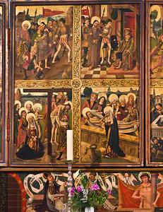 Güstrow, Dom. Flügelaltar im Chor, Passionsseite, linker Mittelflügel