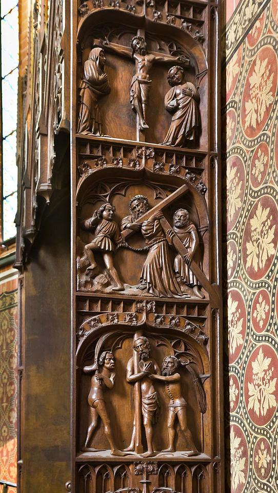 Güstrow, Dom. Levitenstuhl im Chor, rechte Wange mit Leidensgeschichte (um 1430)