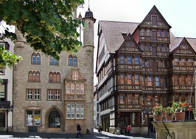 Hildesheim, Markt: Tempel- und Wedekindhaus
