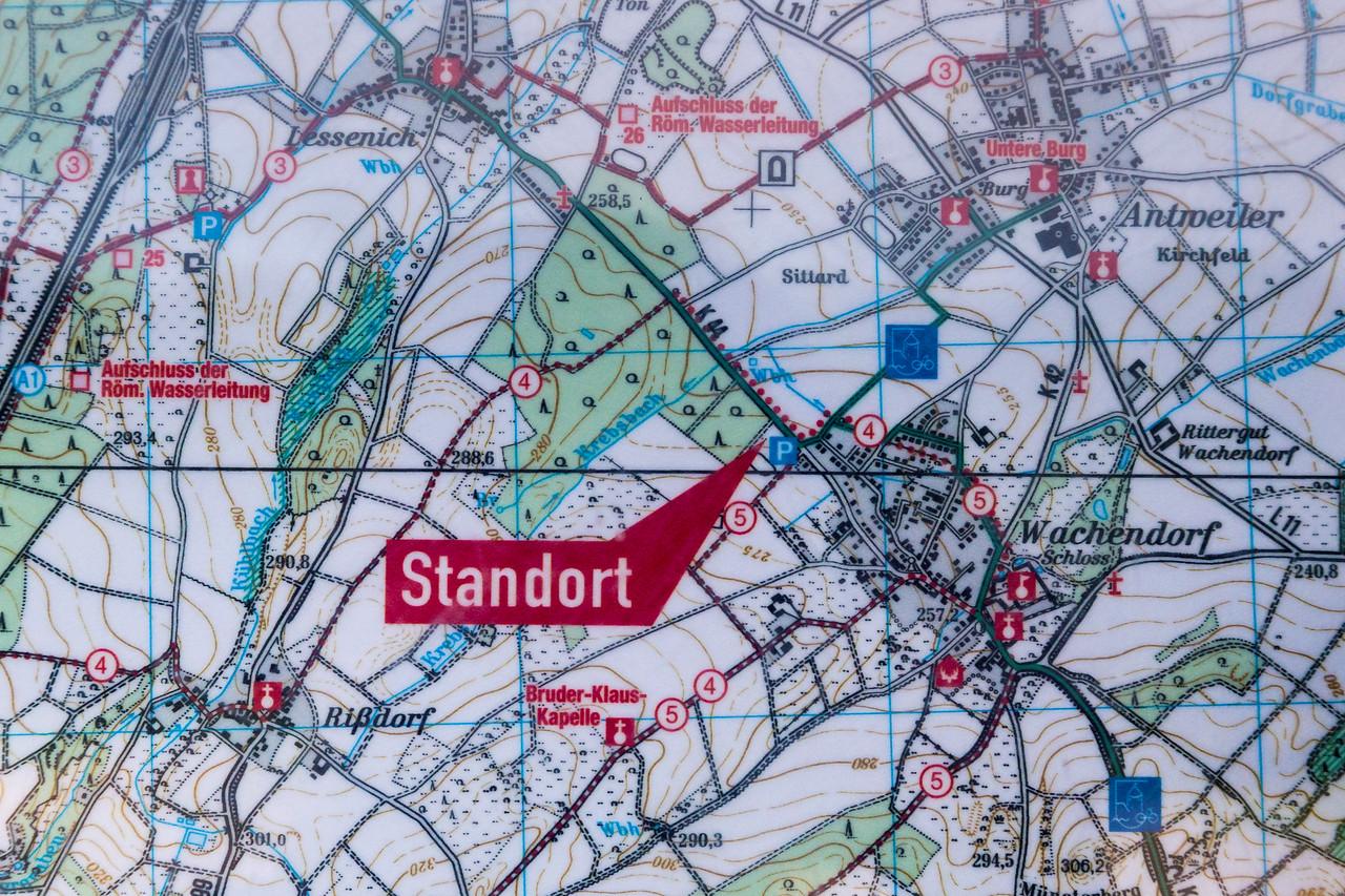 Bruder-Klaus-Kapelle Wachendorf: Karte mit Parkplatz im Zentrum