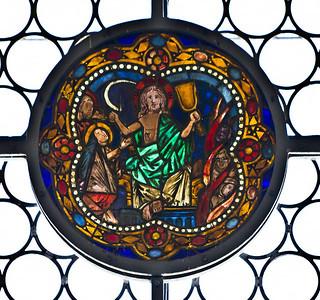 Merseburg, Dom, Vorhalle, Glasfenster-Medaillons, jüngstes Gericht (um 1260)