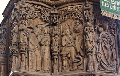 Merseburg, Dom, Kanzel (1. Dr. 16. Jh.), Evangelisten Matthäus und Johannes