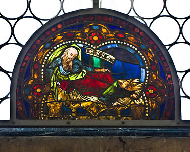 Merseburg, Dom, Vorhalle, Glasfenster-Medaillons, Wurzel Jesse (um 1260)