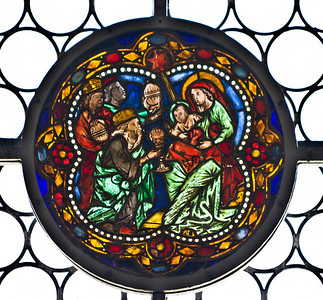 Merseburg, Dom, Vorhalle, Glasfenster-Medaillons, Anbetung der Könige (um 1260)