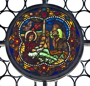 Merseburg, Dom, Vorhalle, Glasfenster-Medaillons, Geburt (um 1260)
