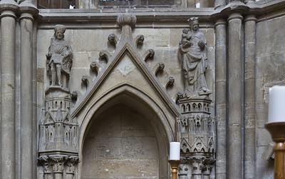 Kloster Schulpforta, Kirche, Chor:. nördl. Wandnische mit Graf Bruno, Maria und Kleinarchitektur