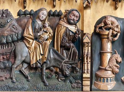 Stendal, Marienkirche, Marienaltar, linke Tafel lu, Flucht nach Ägypten
