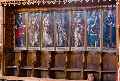 Werben, Johanniskirche, ehem. Chorgestühl, Bilder von Aposteln und M. Luther von 1624