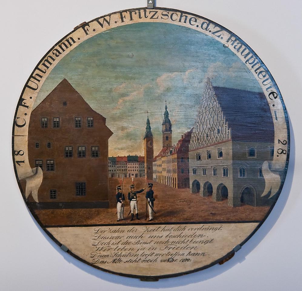 Chemnitz, Schützenscheibe mit den 2 Rathaustürmen, 1828