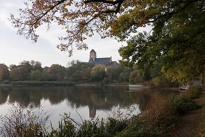 Chemnitz, Blick vom Schlossteich auf Schlosskirche