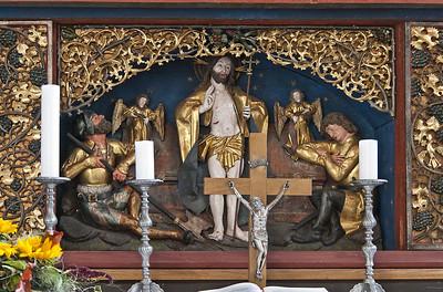 St. Niklas, Ehrenfriedersdorf, Altar, Predella mit Auferstehung (Meister H.W.)