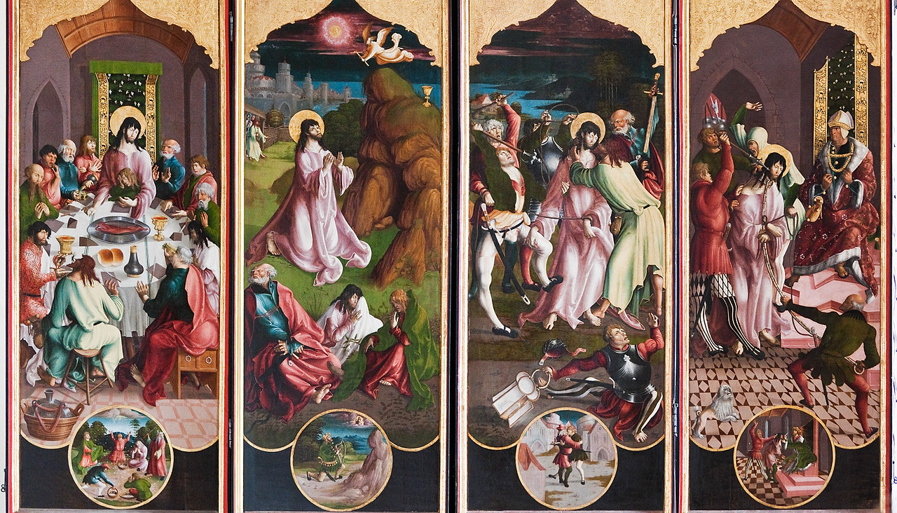 St. Niklas, Ehrenfriedersdorf, Altar, 1. Wandlung: Abendmahl (Mannalese), Ölberg (König David), Geißelung (Joab tötet Abner), Christus vor Pilatus (Bartbeschneidung)
