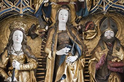 St. Niklas, Ehrenfriedersdorf, Altar, Maria mit Hl. Katharina und Nikolaus (Meister H.W.)