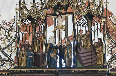 St. Niklas, Ehrenfriedersdorf, Altar, Gesprenge mit Christus vor Pilatus, Kreuzigung, Handwaschung (Meister H.W.)