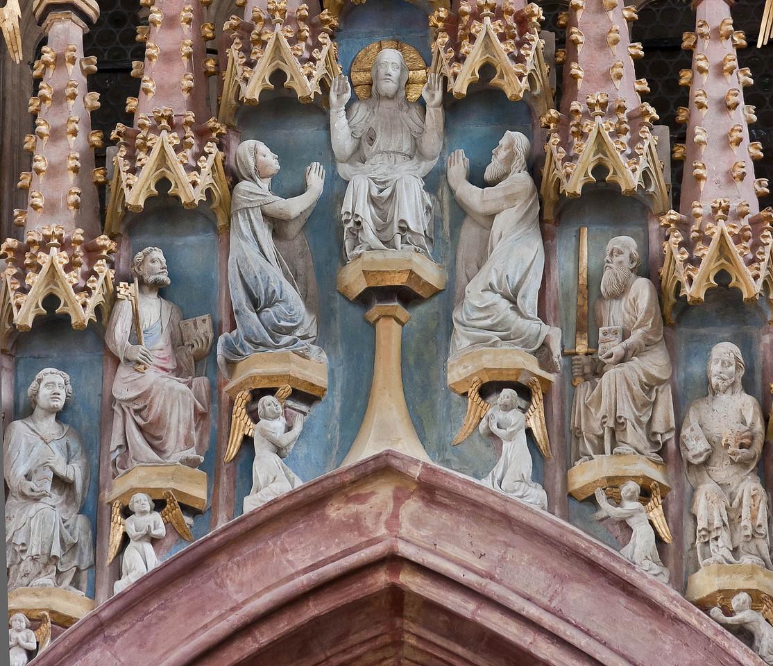 """Meißen, Dom. Fürstenkapelle, """"Aposteltreppe"""": Weltenrichter, Johannes, Maria"""