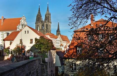 Meißen, Blick auf Dom von Schlossbrücke