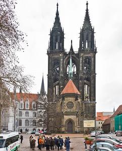 Meißen, Albrechtsburg und Dom (Westfassade, 3. Geschoss: A.v.Westfalen 1480, 4. + Türme ab 1904)