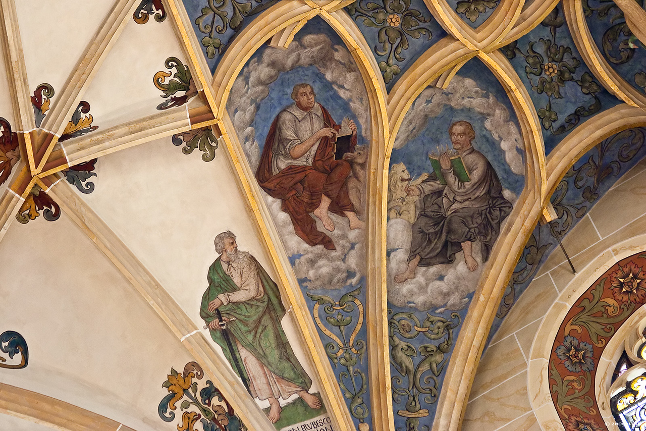 Pirna, St. Marien, Chorgewölbe, Luther und Melanchthon als Evangelisten, Paulus