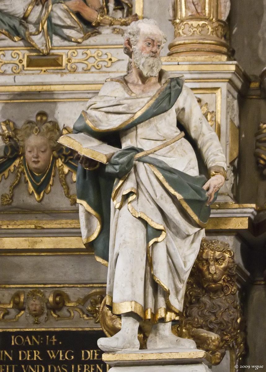 Pirna, St. Marien, Altarretabel von Michael und David Schwenke (1614), Apostel Markus