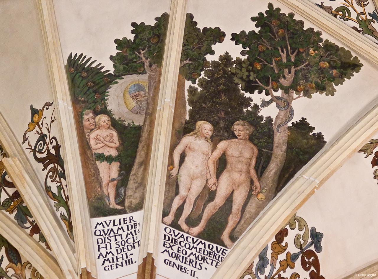 Pirna, St. Marien, 1. Pfeiler Süd, Adam und Eva im Paradies