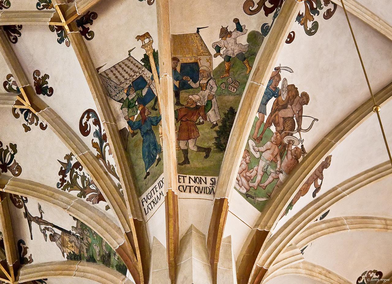 Pirna, St. Marien, 3. Pfeiler Süd: falsche Lehrer (Wölfe), Tanz ums goldene Kalb, kämpfende Zwerge