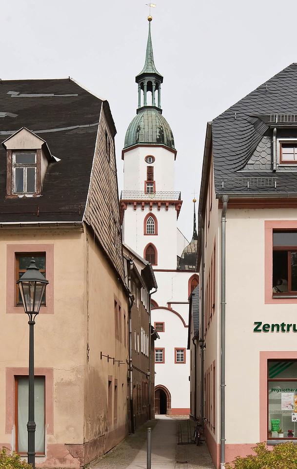 Rochlitz, Blick auf Westseite der Kunigundenkirche