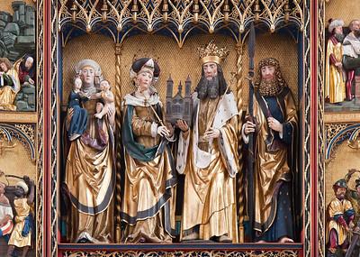 Rochlitz, Kunigundenkirche. Hochaltar, Schrein: Anna Selbdritt, Kunigunde, Heinrich II., Ap. Thomas
