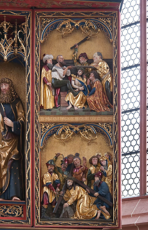 Rochlitz, Kunigundenkirche. Hochaltar, re. Seitenflügel: Dornenkrönung, Kreuztragung