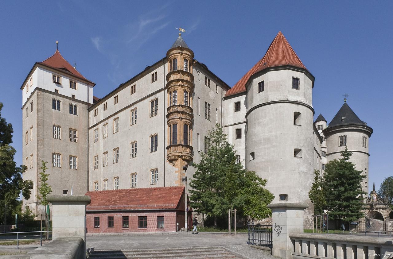 Torgau, Schloss Hartenfels von Südosten mit Hasen- und Flaschenturm