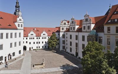 Torgau, Schloss Hartenfels, Innenhof nach Nordwesten