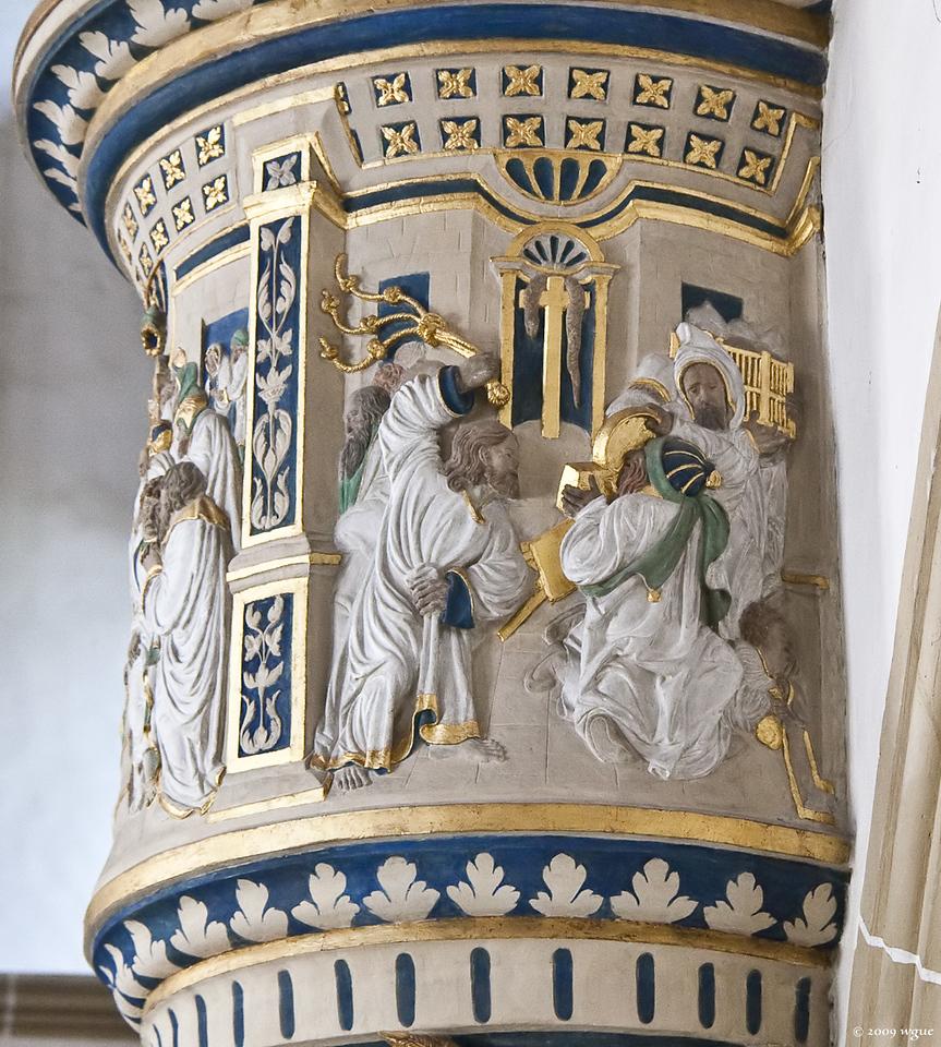 Torgau, Schloss Hartenfels, Schlosskapelle, Kanzel: Reinigung des Tempels (1544)