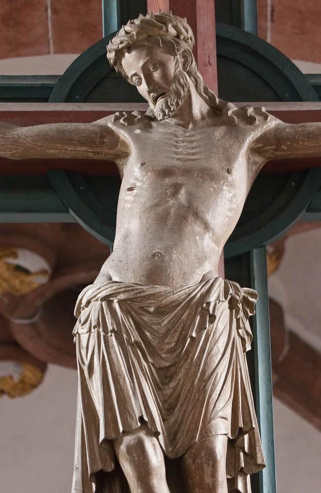 Wechselburg, ehem. Augustinerchorherrenstift. Lettner: Kreuzigungsgruppe, Christus (1.Dr. 13. Jhdt)