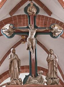 Wechselburg, ehem. Augustinerchorherrenstift. Lettner: Kreuzigungsgruppe (1.Dr. 13. Jhdt)