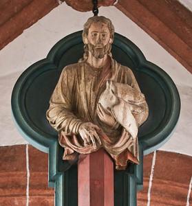 Wechselburg, ehem. Augustinerchorherrenstift. Lettner: Kreuzigungsgruppe, Gottvater (1.Dr. 13. Jhdt)