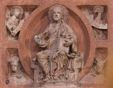 Wechselburg, ehem. Augustinerchorherrenstift. Lettner, Kanzelziborium: Christus und Evgl.-Symbole