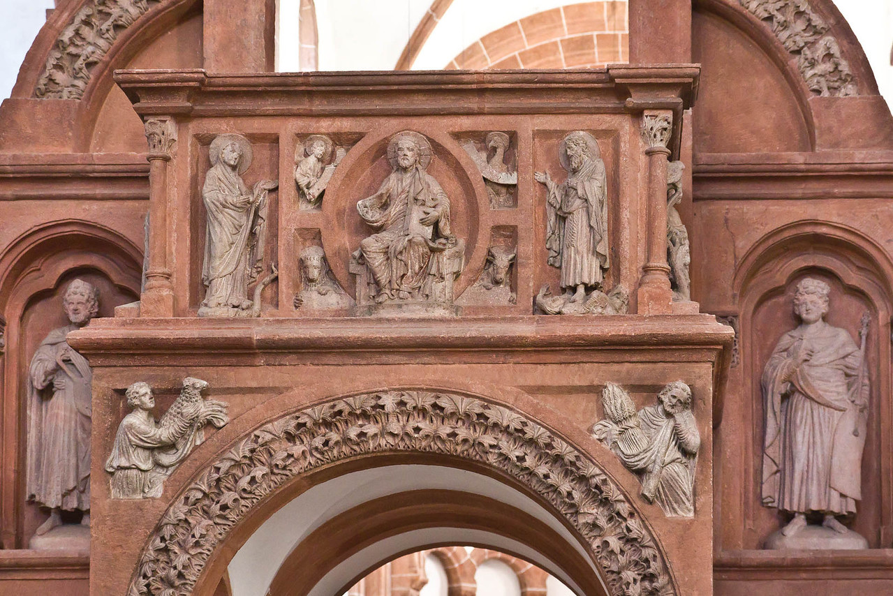 Wechselburg, ehem. Augustinerchorherrenstift. Lettner: Kanzelziborium