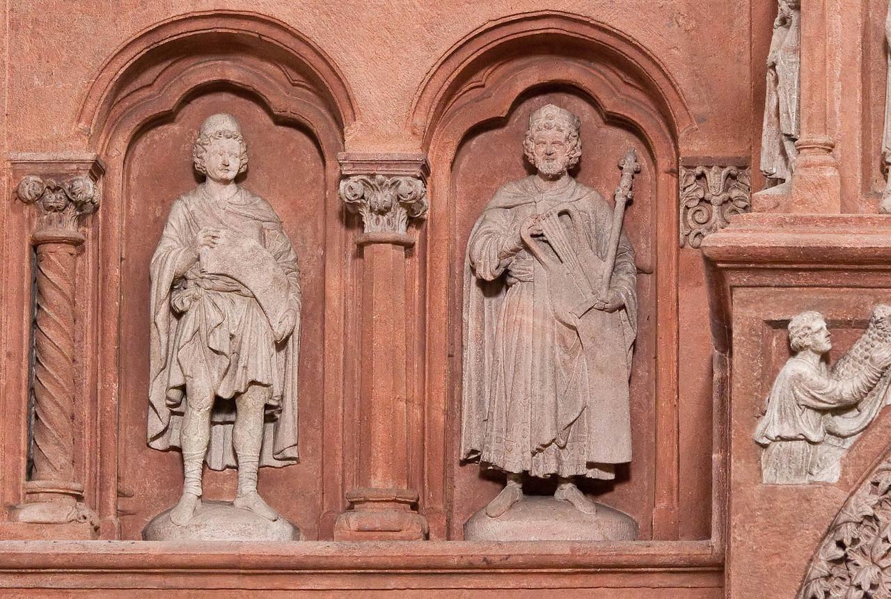 Wechselburg, ehem. Augustinerchorherrenstift. Lettner: Daniel und David (1.Dr. 13. Jhdt)
