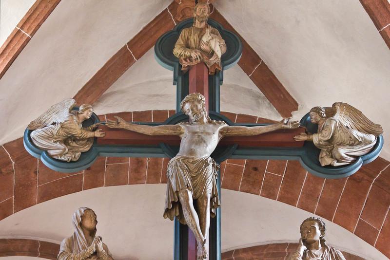 Wechselburg, ehem. Augustinerchorherrenstift. Kreuzigungsgruppe (1.Dr. 13. Jhdt)