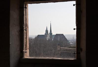 Erfurt, Blick aus Peterskirche vom Petersberg auf Domberg
