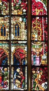 Erfurt, Dom,Genesisfenster: Turmbau zu Babel (1380)