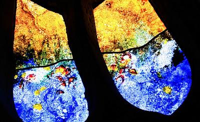 Mühlhausen, Blasiuskirche, Rosette, modernes Fenster, Detail