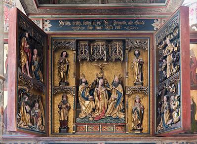 Mühlhausen, Blasiuskirche, Altar, geöffnet (Ende 15. Jhdt)