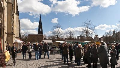 Münster, Blick vom Dom nach Osten zu Lambertikirche und Rathaus