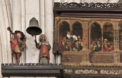 Münster, Dom, astronomische Uhr, Galerie des Giebels, der Tutemann und seine Frau