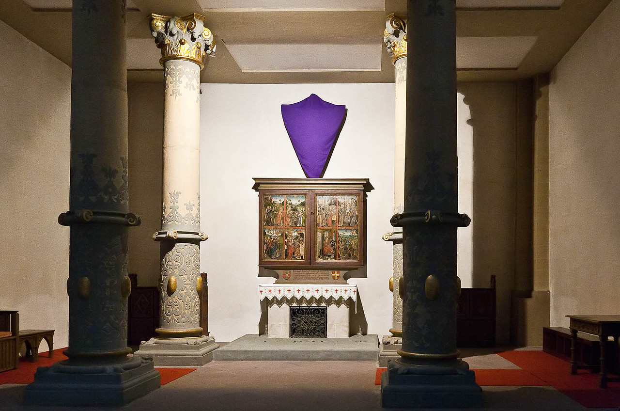 Paderborn, Flügelaltar des Gert van Loon, Leben der hl. Margarethe (um 1500) unter Orgel