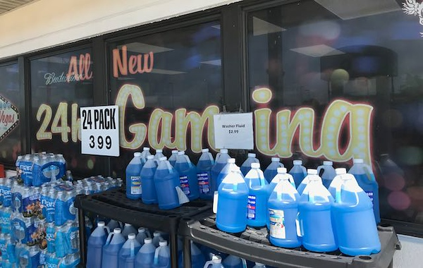 """While traveling through southern Illinois to the track I came across this """"casino"""" conveniently located behind the washer fluid!"""