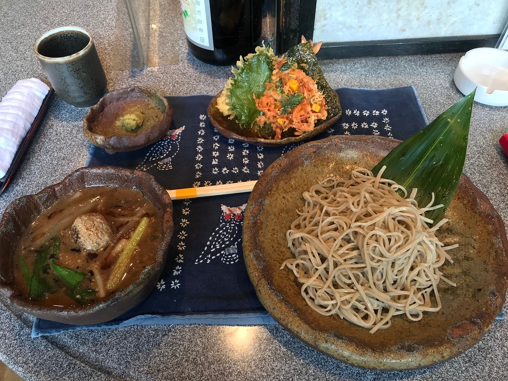 The duck broth soba and tempura set.