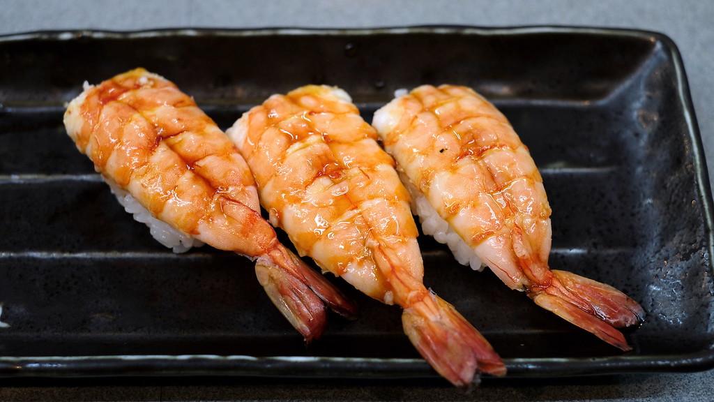 Boiled prawn nigiri.